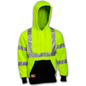 Tingley® Class 3 FR Hi-Vis Hooded Sweatshirt, Fluorescent Yellow Green/Black, L