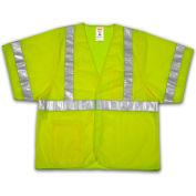 Tingley® V70022 Job Sight™ Class 3 Vest, Fluorescent Lime, Polyester Mesh, 4XL/5XL