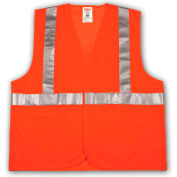 Tingley® V70629 Job Sight™ Class 2 Vest, Fluorescent Orange, Polyester Mesh, 4XL/5XL