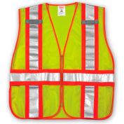 Tingley® V70832 Job Sight™ Class 2 Adjustable Vest, Fluorescent Lime, M/XL