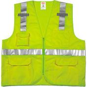 Tingley® V73832 Job Sight™ Class 2 Surveyor Style Vest, Fluorescent Lime, 2XL/3XL
