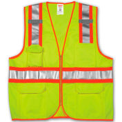 Tingley® V73852 Job Sight™ Class 2 Surveyor Style Vest, Fluorescent Lime, S/M
