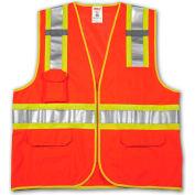 Tingley® V73859 Job Sight™ Class 2 Surveyor Style Vest, Fluorescent Orange, L/XL