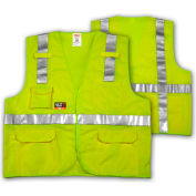 Tingley® V81832 Job Sight FR™ Class 2 Surveyor Style Vest, Fluorescent Lime, 4XL/5XL
