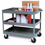 "Tri-Boro Economy 3 Shelf Stock Cart ESC2436-3 22 Gauge Steel 36 x 24 with 3"" Lip, 500 Lb. Cap."