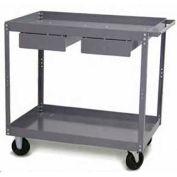 "Tri-Boro Economy 2 Shelf Stock Cart ESC2436D Steel 36 x 24 with 3"" Lip, 500 Lb. Cap."