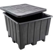 "Romotech Plastic Gaylord Pallet Container 82125035 with Lid 50""L x 50""W x 36-1/2""H, Black"