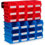 Triton 3-1020RBWS 26 Pc Wall Storage Unit W/ (12) Red Bins & (12) Blue Bins & (2) Wall Mount Rails