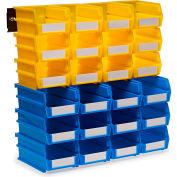 Triton 3-1020YBWS 26 Pc Wall Storage Unit W/ (12) Red Bins & (12) Blue Bins & (2) Wall Mount Rails
