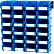 LocBin Wall Storage, 3-210BWS, W/Rails, Small, Blue (26 pc)