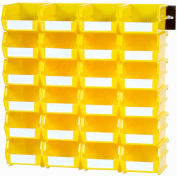 LocBin Wall Storage, 3-220YWS, W/Rails, Medium, Yellow (26 pc)