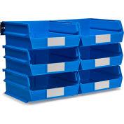 LocBin Wall Storage, 3-235BWS, W/Rails, Large, Blue (8 pc)