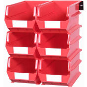 LocBin Wall Storage, 3-240RWS, W/Rails, Large, Red (8 pc)
