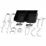 Triton 918 18 Pc Zinc Plated Steel Hook & Bin Assortment for DuraBoard (16 Asst Hooks & 2 Bins)