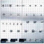 """Triton LB18-SKit (2) 18"""" W x 36"""" H x 1/2"""" D Stainless Sq. Hole Pegboards W/ (32) LocHooks & (3) Bins"""