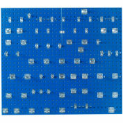 Triton LB2-BKit (2) 18 ga Blue Steel Square Hole Pegboard W/ (63 pc) LocHook Set