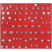Triton LB2-BKit (2) 18 ga Red Steel Square Hole Pegboard W/ (63 pc) LocHook Set