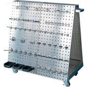 """36-3/4""""L x 39-1/4""""H x 21-1/4""""W SS Steel Frame SS LocBoard Tool Cart w/Tray, 60 pc SS LocHook Asst"""