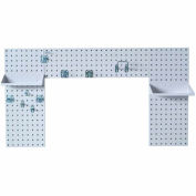 Triton LBS30L-WHT White Laundry Rm Org. W/ (3) Steel Sq Hole Pegboards, (2) Shelves & (9) LocHooks