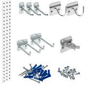 "Triton LBS36G-WHT White Garden Storage Kit W/ (1) 36"" x 4.5"" Steel Sq.Hole Pegboard & (8) LocHooks"