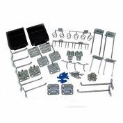 Triton LH3-KIT 30 Pc Zinc Plated Steel Hook & Bin Assortment for LocBoard (28 Asst Hooks & 2 Bins)