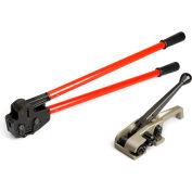 "Teknika Tool Set for PET/Plastic Strapping w/ MUL-320 Tensioner & MUL-381 Sealer, Upto 1-1/4"" Strap"