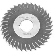 "HSS Import Metal Slitting Saw Plain Teeth, Side Chip Clear, 4"" DIA x 1/16"" Face x 1"" Hole"