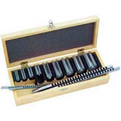 Keyway Broach Set # 24, Plain, 24 Combinations, 3 Broaches + 8 Plain Bushings, in Wooden Box