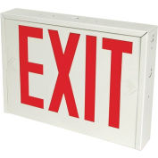 Emergi-Lite 8NY-N-R-N NYC Exit Sign, Single or Double Faced, Battery Backup, NYC Approved, White