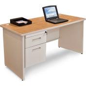 """Marvel® - Pronto® 48""""W Single Pedestal Desk, Pumice/Oak"""