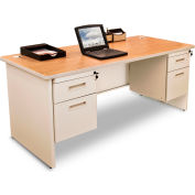 "Marvel® - Pronto® 60""W Double Pedestal Desk, Pumice/Oak"