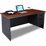 "Marvel® Steel Desk - Single Pedestal - 60"" x 30"" - Mahogany - Pronto® Series"