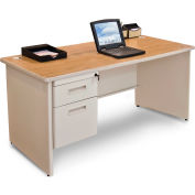 """Marvel® - Pronto® 60""""W Single Pedestal Desk, Pumice/Oak"""