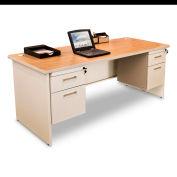 """Marvel® - Pronto® 66""""W Double Pedestal Desk, Pumice/Oak"""