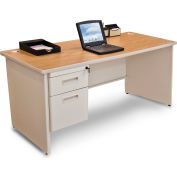 """Marvel® - Pronto® 66""""W Single Pedestal Desk, Pumice/Oak"""