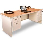"Marvel® - Pronto® 72""W Double Pedestal Desk, Pumice/Oak"