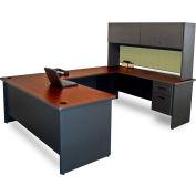 """Pronto U-Shaped Desk With Flipper Door Unit, 8'6""""""""W x 6'D: Dark Neutral/Peridot"""