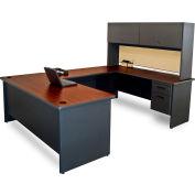 "Pronto U-Shaped Desk With Flipper Door Unit, 8'6""""W x 6'D: Dark Neutral/Beryl"