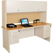 "Marvel® Steel Desk w/ Hutch - Double Pedestal-72""W x 30""D - Putty/Beryl - Pronto Series"