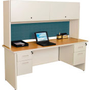 "Marvel® Steel Desk w/ Hutch - Double Pedestal-72""W x 30""D - Putty/Slate - Pronto Series"