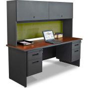 "Pronto 72"" Double File Desk Credenza Including Flipper Door Cabinet,72""W x 24""D:Dark Neutral/Peridot"