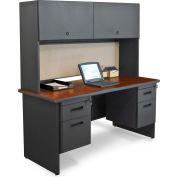 "Pronto 60"" Double File Desk Credenza Including Flipper Door Cabinet, 60""W x 24""D: Dark Neutral/Chalk"