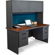 "Pronto 60"" Double File Desk Credenza Including Flipper Door Cabinet, 60""W x 24""D: Dark Neutral/Slate"