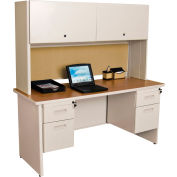 "Pronto 60"" Double File Desk Credenza Including Flipper Door Cabinet, 60""W x 24""D: Putty/Beryl"