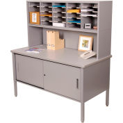 Marvel® - 25 Slot Literature Organizer with Riser and Cabinet -Slate Gray