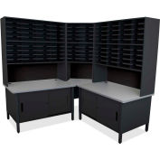 "Marvel® 100 Slot Mailroom Organizer with Cabinet, Riser, 84""H x 78""W, Black"
