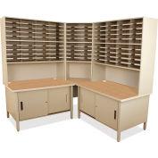 "Marvel® 100 Slot Mailroom Organizer with Cabinet, Riser, 84""H x 78""W, Putty"