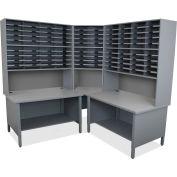"Marvel® 100 Slot Mailroom Organizer, 2 Storage Shelves, Riser, 84""H x 78""W, Slate Gray"