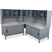 "Marvel® 50 Slot Mailroom Organizer with Cabinet, Riser, 68""H x 78""W, Slate Gray"