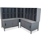 "Marvel® 100 Slot Mailroom Organizer with Cabinet, 66""H x 78""W, Slate Gray"